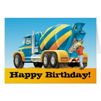 Kids Custom Concrete Mixer Truck Happy Birthday Greeting Card