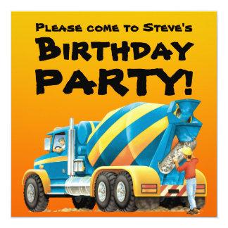 Kids Custom Concrete Mixer Truck Party 13 Cm X 13 Cm Square Invitation Card