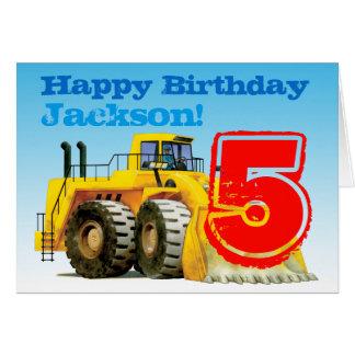 Kids Custom Construction Digger 5th Birthday Greeting Card