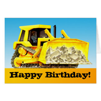 Kids Custom Construction Happy Birthday Bulldozer Greeting Card