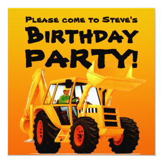 Kid's Custom Construction Party Yellow Digger 13 Cm X 13 Cm Square Invitation Card