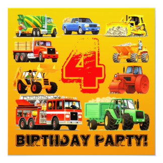Kids Custom Construction Trucks 4th Birthday Party 13 Cm X 13 Cm Square Invitation Card