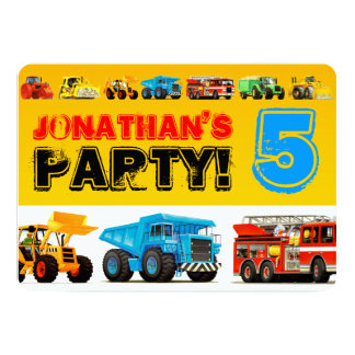 Kids Custom Construction Trucks 5th Birthday Party Card