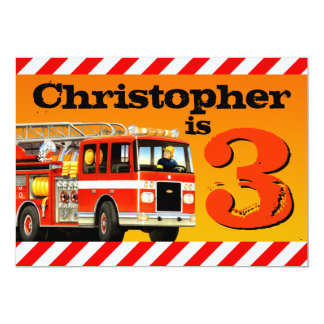 Kid's Custom Fire Truck 3rd Birthday Party 13 Cm X 18 Cm Invitation Card