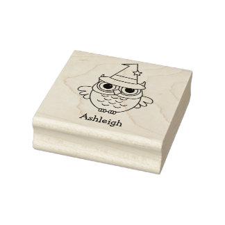Kids Custom Halloween Owl Name Rubber Stamp