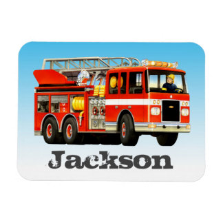 Kid's Custom Name Fire Truck Party Magnet