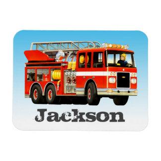 Kid's Custom Name Fire Truck Party Rectangular Photo Magnet