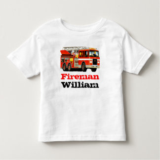 Kid's Custom Name Red Fire Truck Birthday Toddler T-Shirt