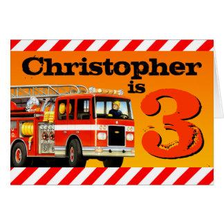 Kids Custom Name Red Fire Truck Happy 3rd Birthday Greeting Card