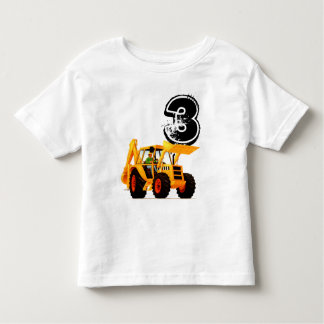 Kid's Custom Yellow Digger 3rd Birthday Toddler T-Shirt