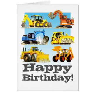 Kids Custom Yellow Digger Excavator Happy Birthday Card