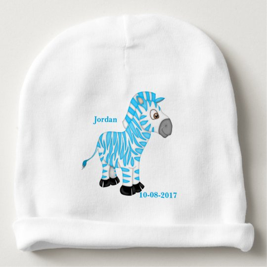 Kid's Cute Blue Baby Zebra Baby Beanie