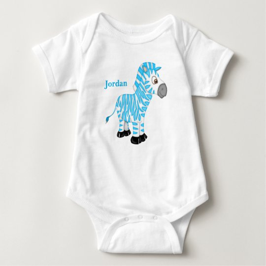 Kid's Cute Blue Baby Zebra Baby Bodysuit