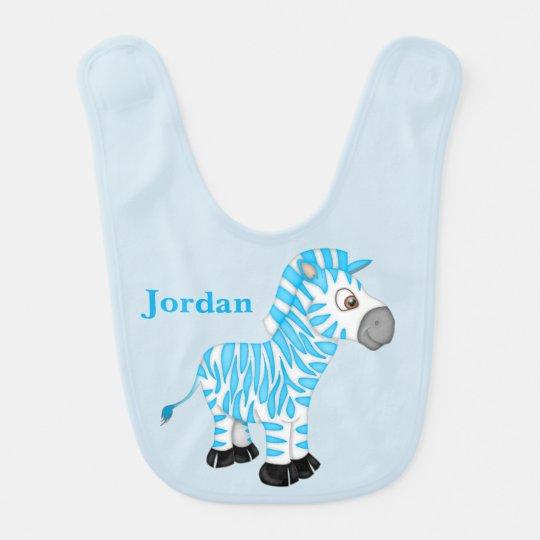 Kid's Cute Blue Baby Zebra Bib