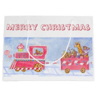 Kids Cute Christmas Toy Train Gift Bag