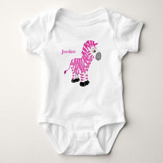 Kid's Cute Pink Baby Zebra Baby Bodysuit