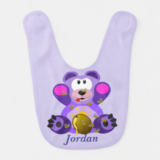 Kid's Cute Purple Teddy Bear Bib