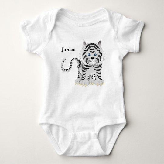 Kid's Cute White Baby Tiger Baby Bodysuit