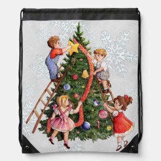 Kids Decorating Christmas Tree Drawstring Bag