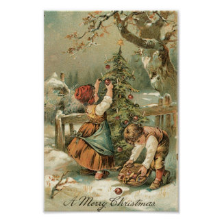 Kids decorating Christmas Tree outside Poster