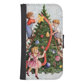 Kids Decorating Christmas Tree Samsung S4 Wallet Case