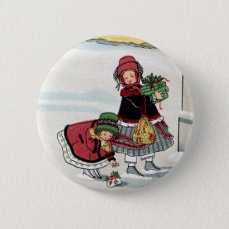 Kids Delivering Christmas Gifts 6 Cm Round Badge