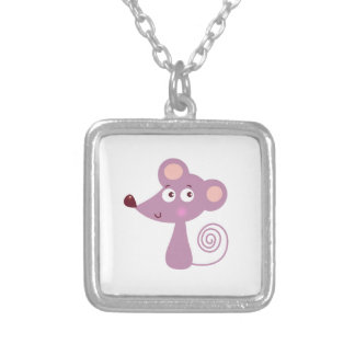 Kids design / Mouse on white Silver Plated Necklace