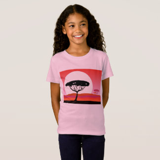 Kids designers t-shirt pink with Africa tree