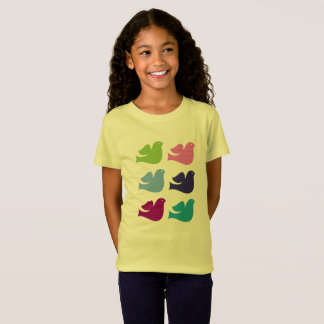 Kids designers t-shirt Yellow with doves