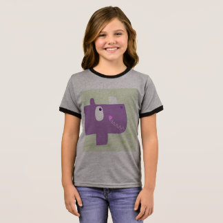 Kids designers tshirt with Happy rhino