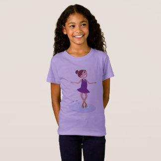 Kids designers tshirt with Winter ice skating girl