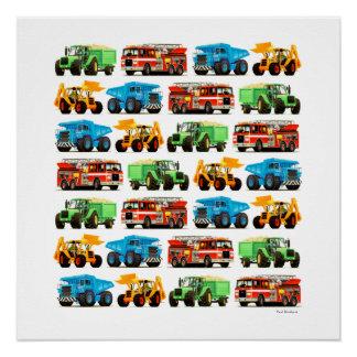 Kid's Digger Dumper Truck Firetruck Tractor Art Poster