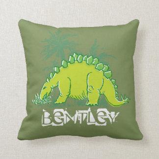 Kids Dinosaur Stegosaurus green pillow