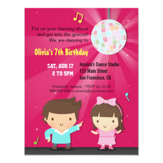 Kids Disco Ball Groove Dance Birthday Party 11 Cm X 14 Cm Invitation Card