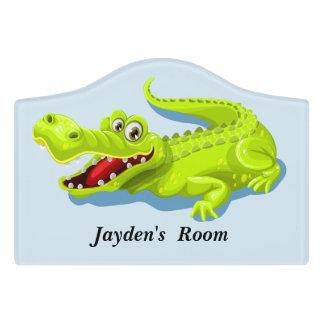 Kid's Door Sign Cute Baby Alligator