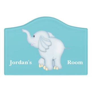Kid's Door Sign Cute Blue Baby Elephant