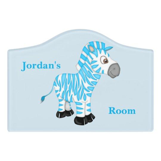 Kid's Door Sign Cute Blue Baby Zebra