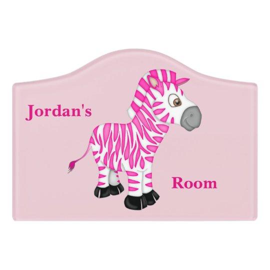 Kid's Door Sign Cute Pink Baby Zebra