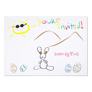 Kids Drawing Easter Egg Hunt Card