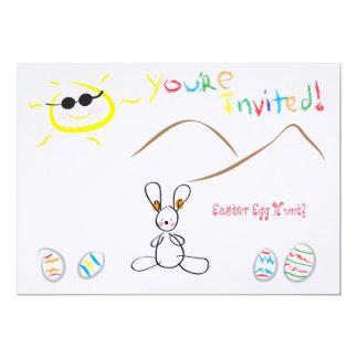 "Kids Drawing Easter Egg Hunt 5"" X 7"" Invitation Card"