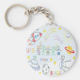 Kids drawing,space,aliens,universe,cute,kid,kawai, key chains