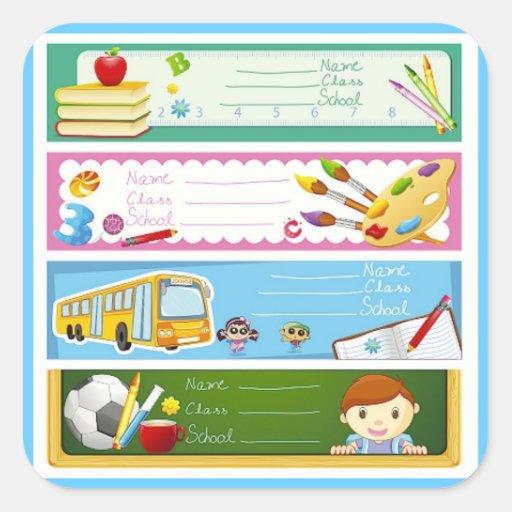 KIDS EDUCATION TEMPLATES COLOURFUL CARTOON SCHOOL SQUARE STICKER