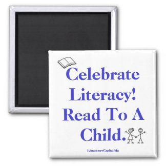 kids_EPS, reads, Celebrate Literacy!  Read To A... Square Magnet