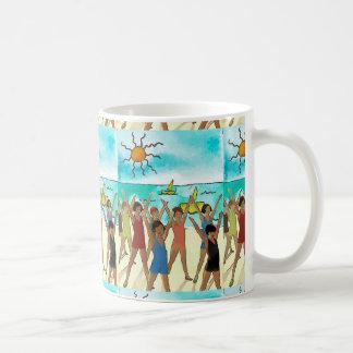 Kids Exercise on Beach, add text Coffee Mug