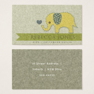 KIDS FELT PATCH QUILT WORK BABY ELEPHANT MONOGRAM BUSINESS CARD
