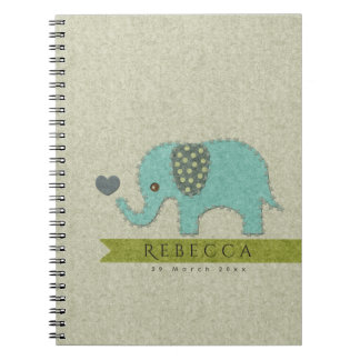 KIDS FELT PATCHWORK BLUE BABY ELEPHANT MONOGRAM SPIRAL NOTEBOOK