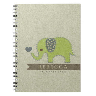 KIDS FELT PATCHWORK GREEN BABY ELEPHANT MONOGRAM SPIRAL NOTEBOOK