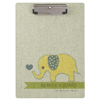KIDS FELT PATCHWORK YELLOW BABY ELEPHANT MONOGRAM CLIPBOARD