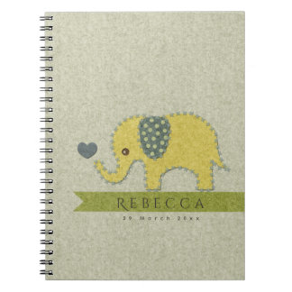 KIDS FELT PATCHWORK YELLOW BABY ELEPHANT MONOGRAM NOTEBOOK