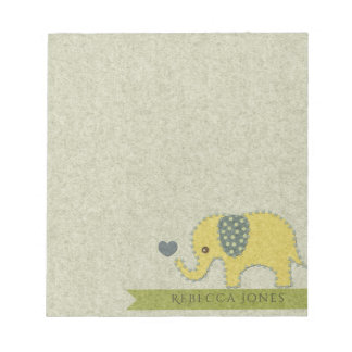 KIDS FELT PATCHWORK YELLOW BABY ELEPHANT MONOGRAM NOTEPADS